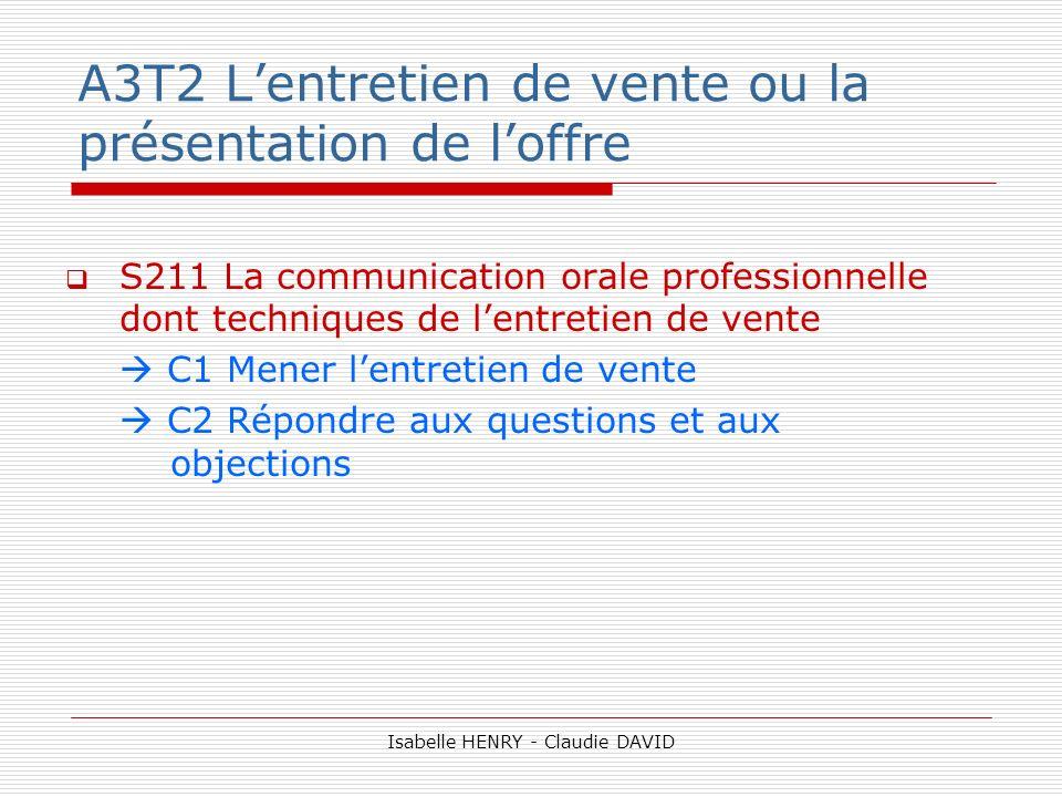 A3T2 L'entretien de vente ou la présentation de l'offre