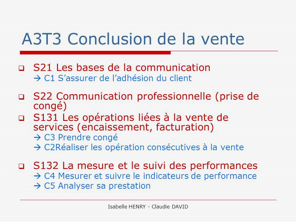 A3T3 Conclusion de la vente