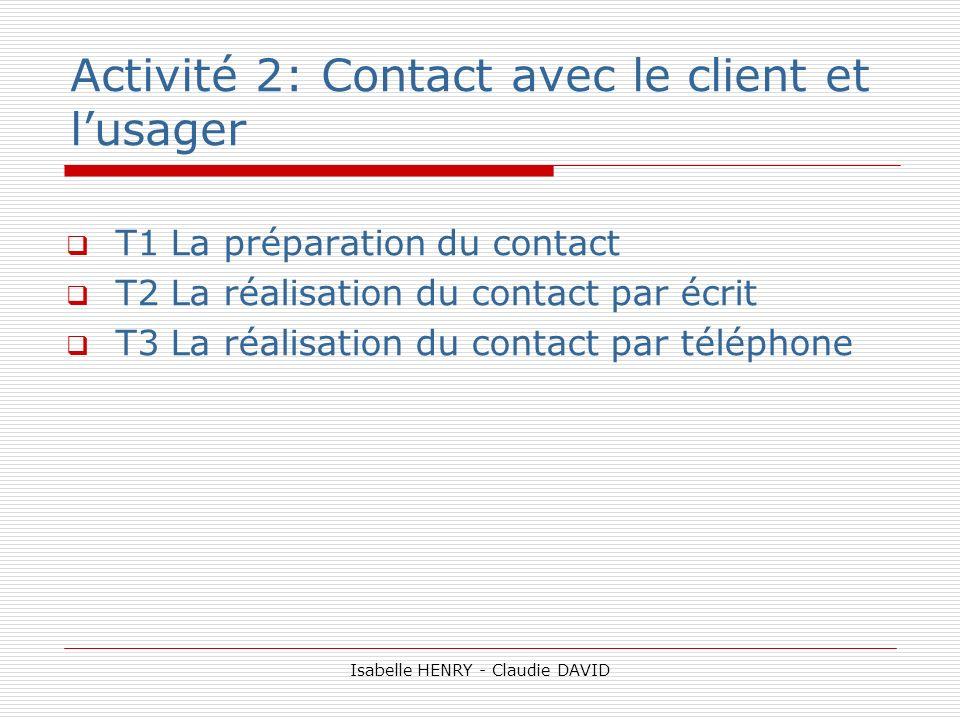 Activité 2: Contact avec le client et l'usager