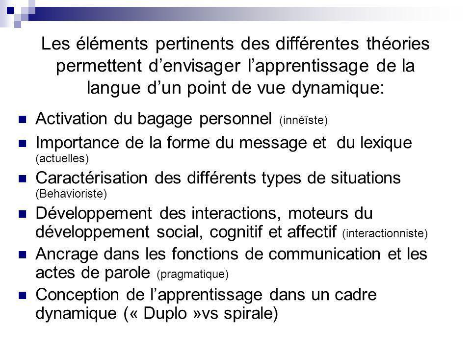 Les éléments pertinents des différentes théories permettent d'envisager l'apprentissage de la langue d'un point de vue dynamique: