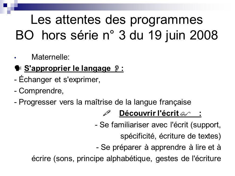 Les attentes des programmes BO hors série n° 3 du 19 juin 2008