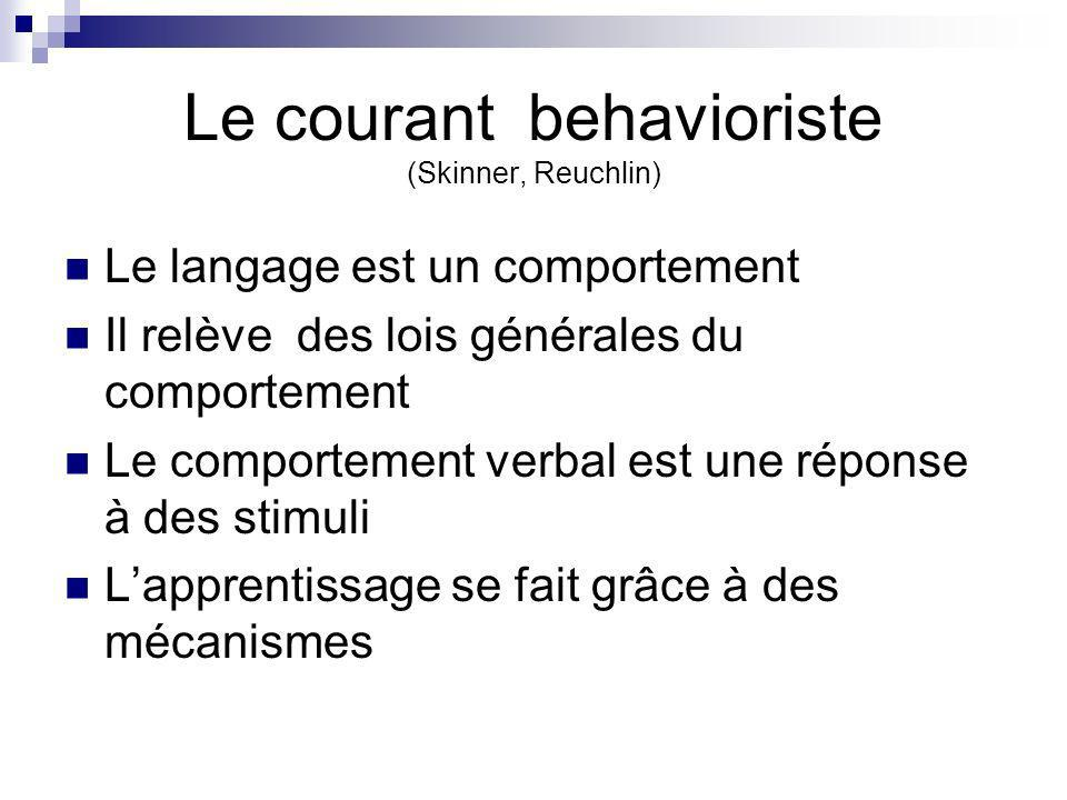 Le courant behavioriste (Skinner, Reuchlin)