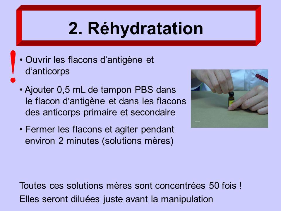 ! 2. Réhydratation Ouvrir les flacons d'antigène et d'anticorps
