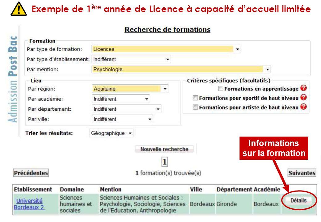 Exemple de 1ère année de Licence à capacité d'accueil limitée