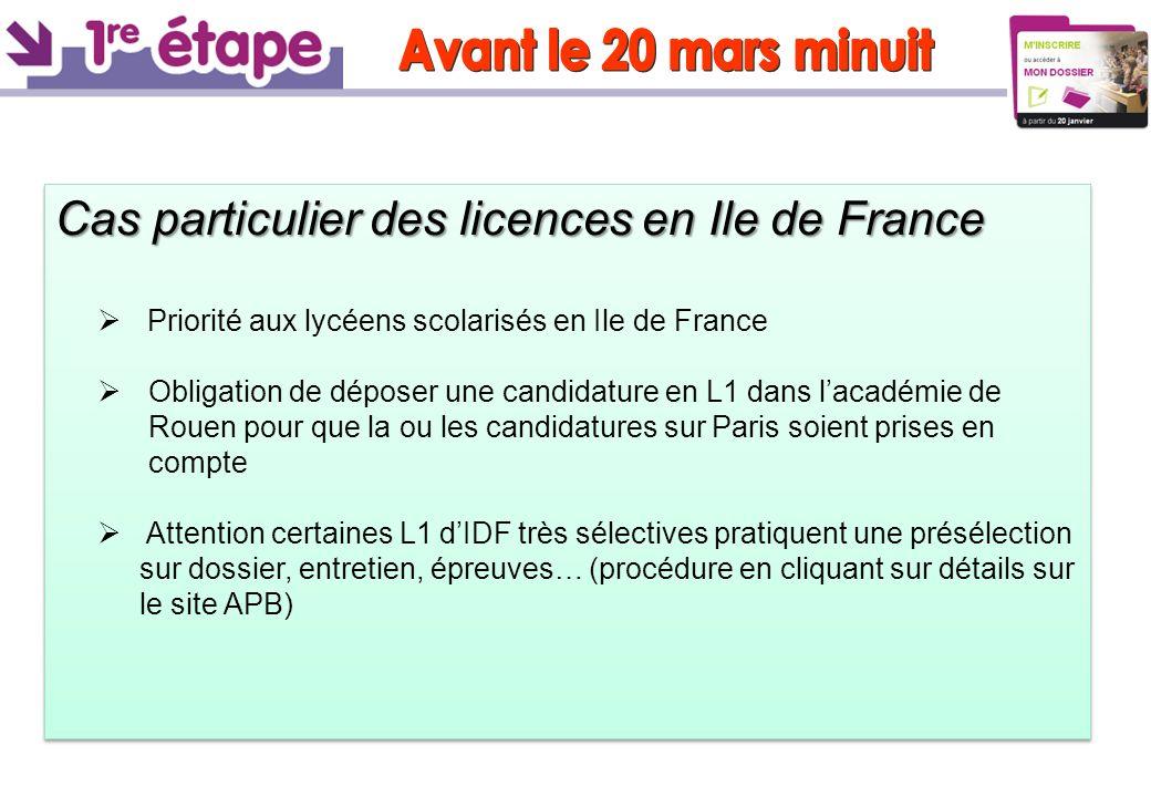 Avant le 20 mars minuit Cas particulier des licences en Ile de France