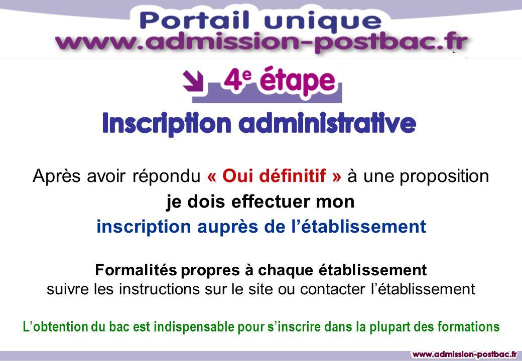 Inscription administrative inscription auprès de l'établissement