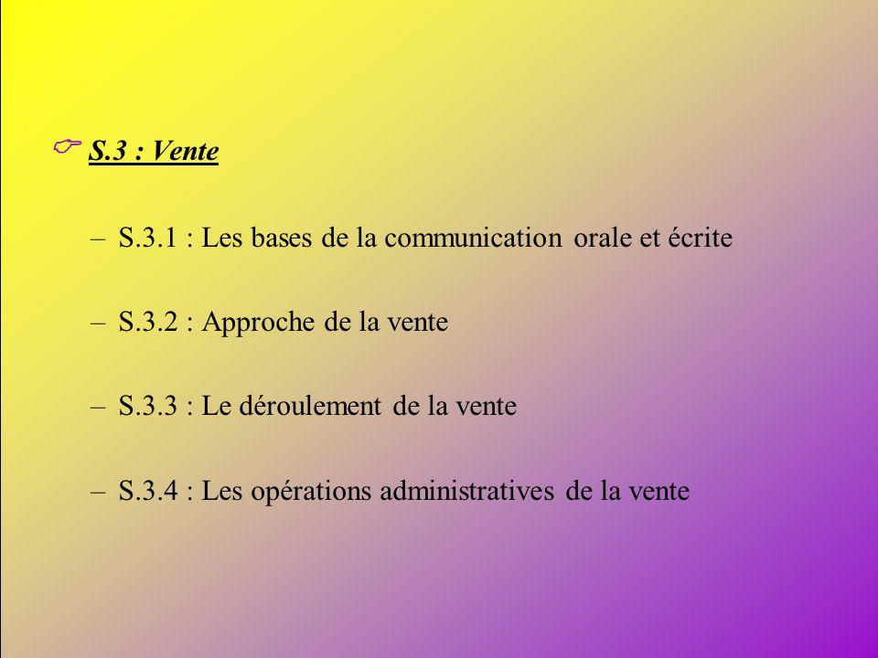 C S.3 : Vente S.3.1 : Les bases de la communication orale et écrite