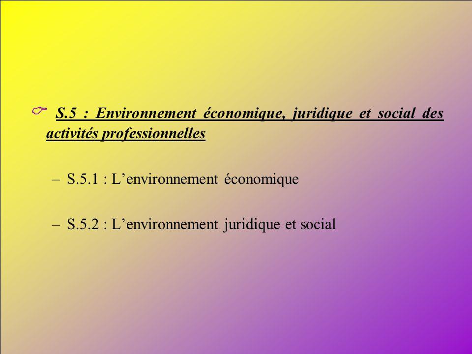 C S.5 : Environnement économique, juridique et social des activités professionnelles