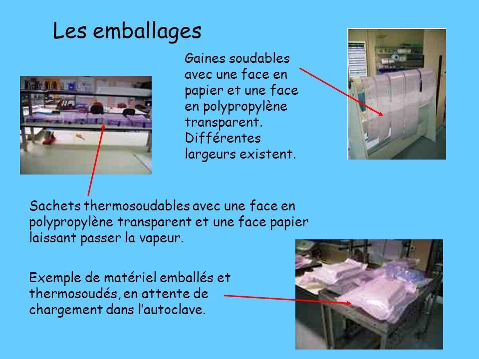 Les emballages Gaines soudables avec une face en papier et une face en polypropylène transparent. Différentes largeurs existent.