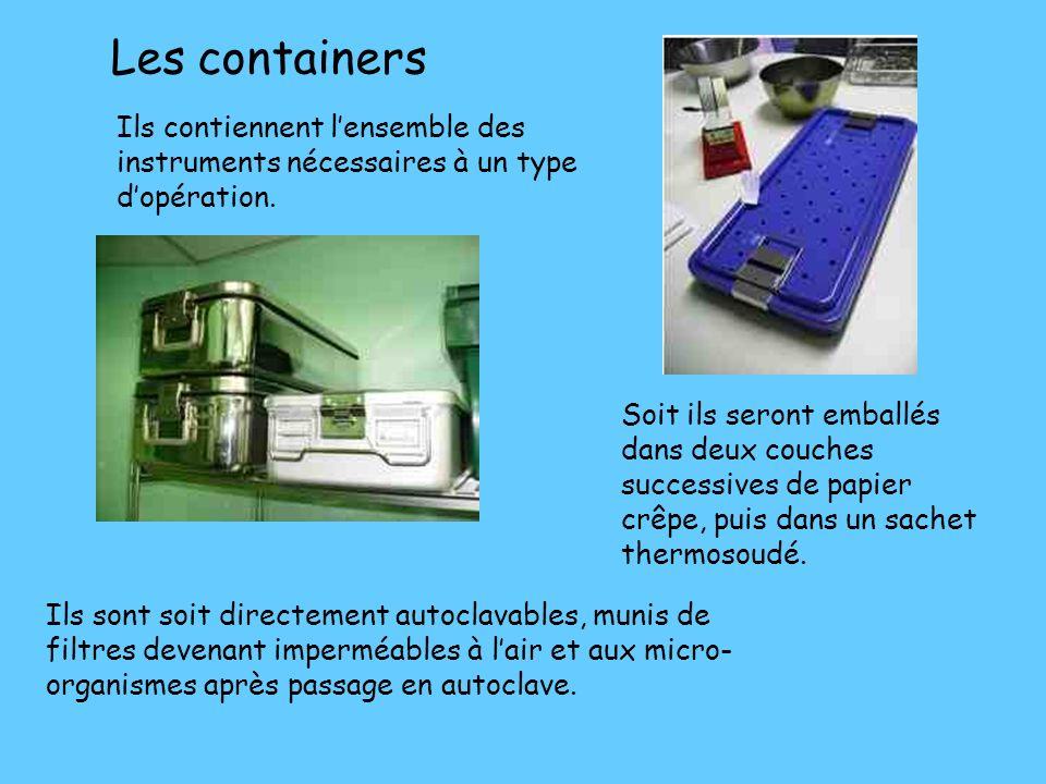 Les containers Ils contiennent l'ensemble des instruments nécessaires à un type d'opération.