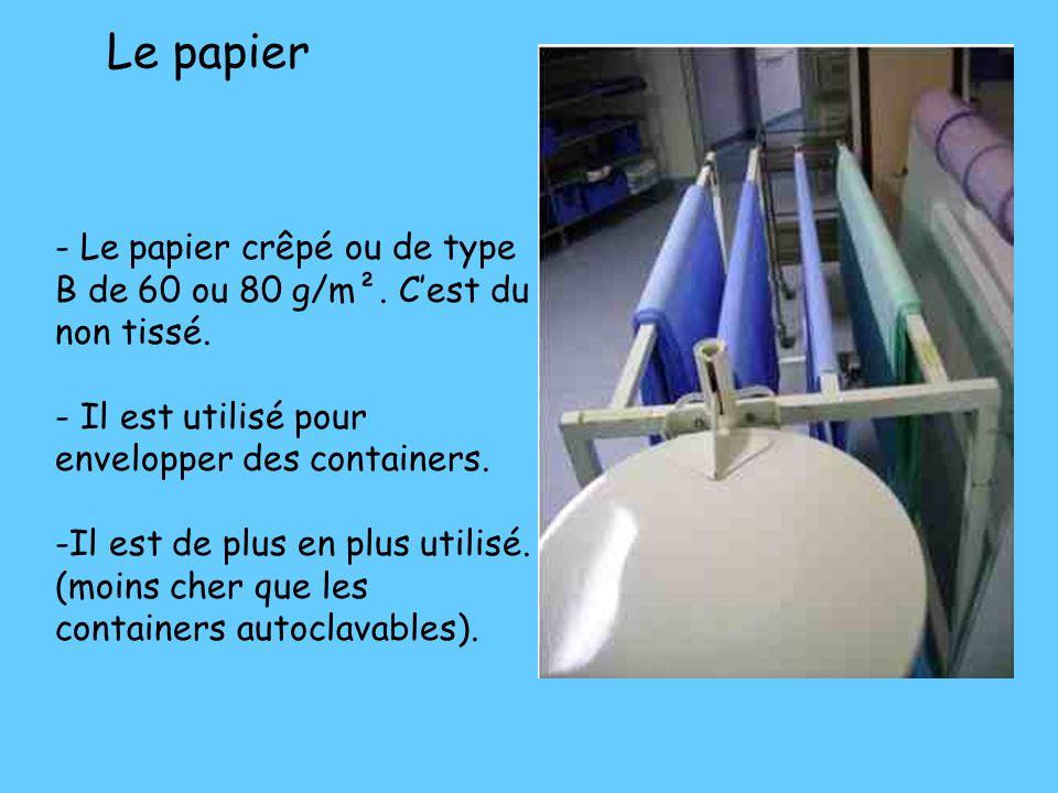 Le papier - Le papier crêpé ou de type B de 60 ou 80 g/m². C'est du non tissé. - Il est utilisé pour envelopper des containers.