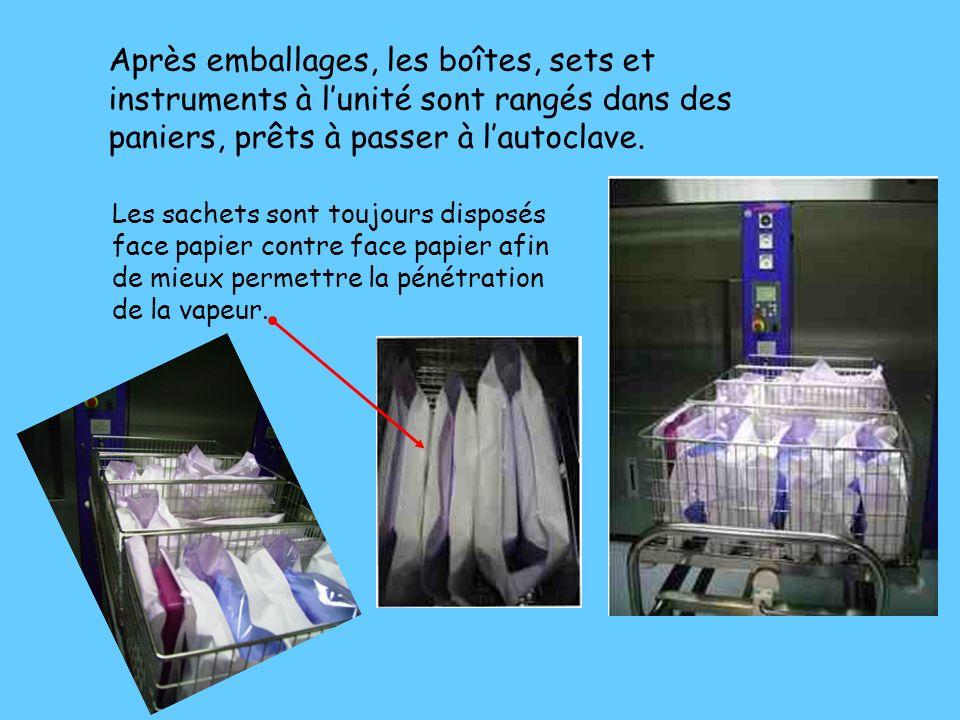 Après emballages, les boîtes, sets et instruments à l'unité sont rangés dans des paniers, prêts à passer à l'autoclave.