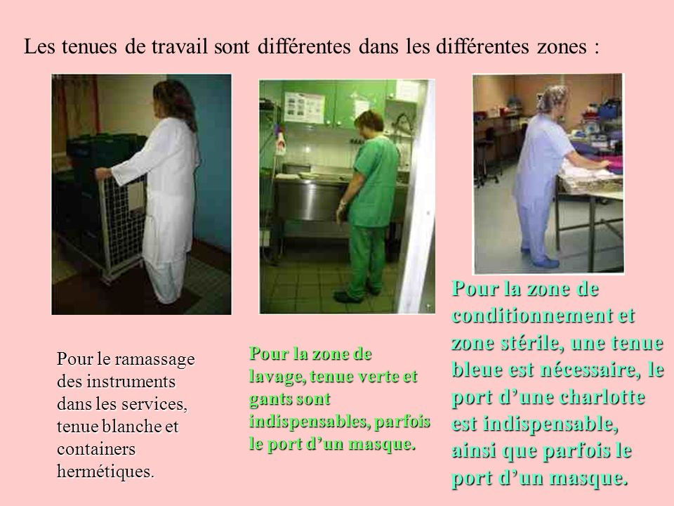 Les tenues de travail sont différentes dans les différentes zones :