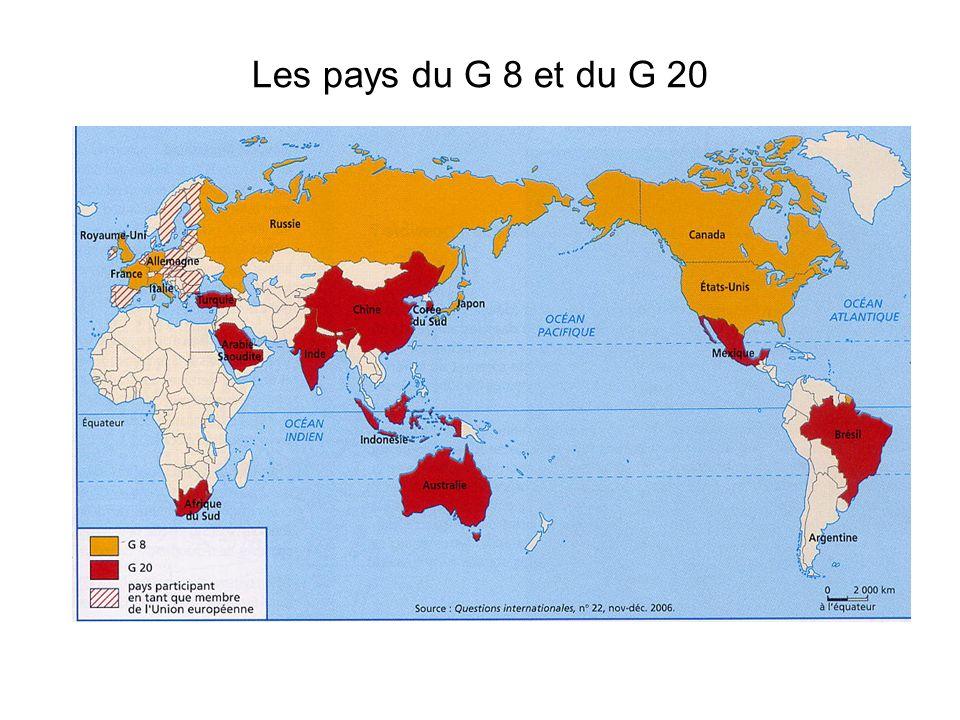 Les pays du G 8 et du G 20