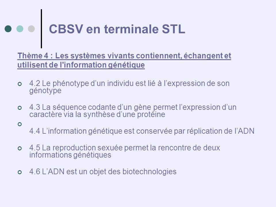 CBSV en terminale STL Thème 4 : Les systèmes vivants contiennent, échangent et. utilisent de l information génétique.