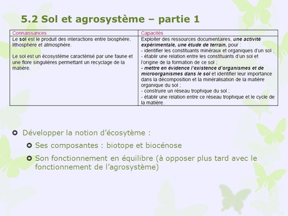 5.2 Sol et agrosystème – partie 1
