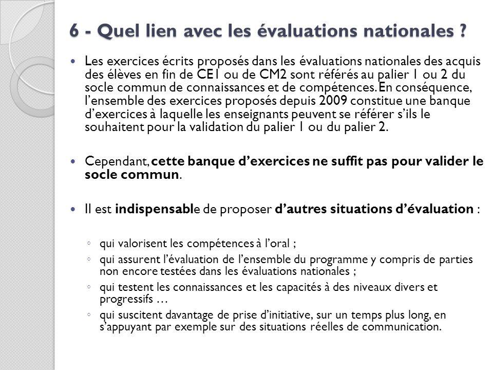 6 - Quel lien avec les évaluations nationales