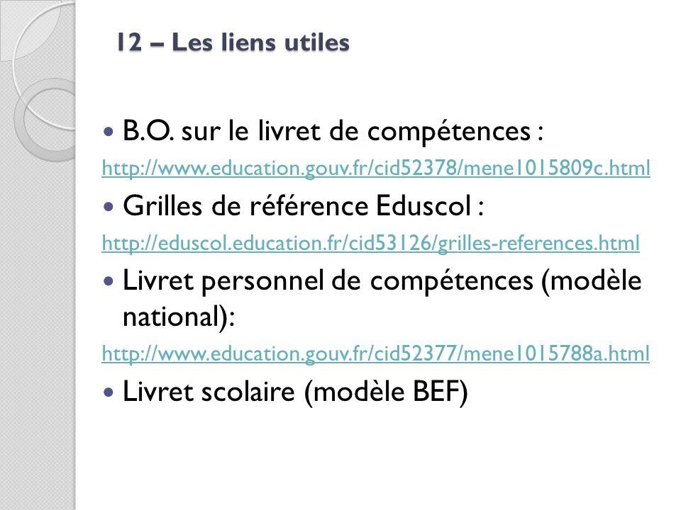 B.O. sur le livret de compétences : Grilles de référence Eduscol :