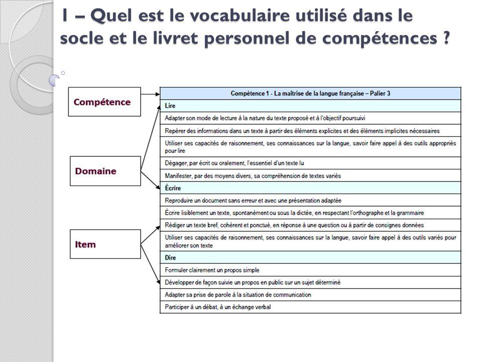 1 – Quel est le vocabulaire utilisé dans le socle et le livret personnel de compétences