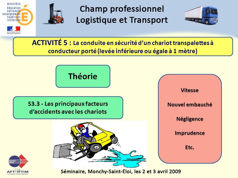 S3.3 - Les principaux facteurs d'accidents avec les chariots