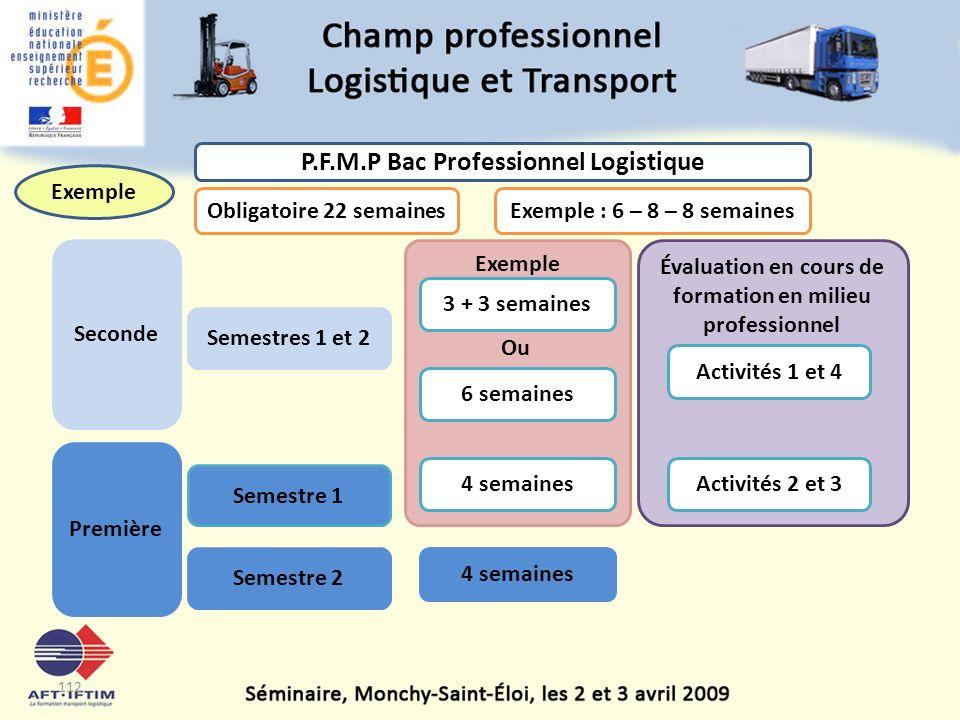 P.F.M.P Bac Professionnel Logistique