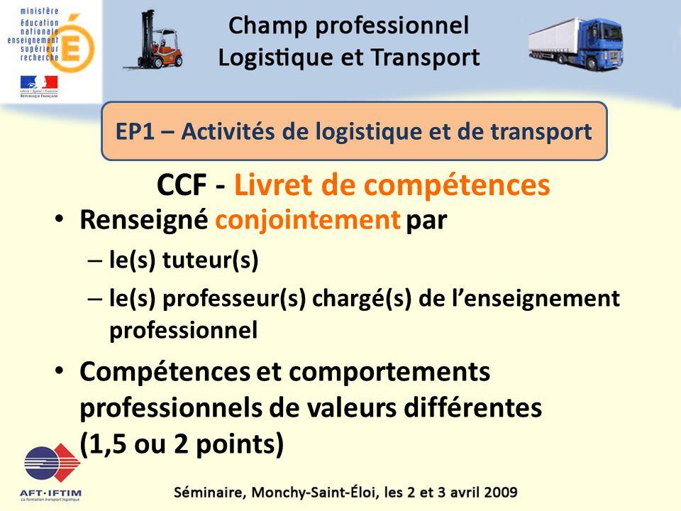 CCF - Livret de compétences