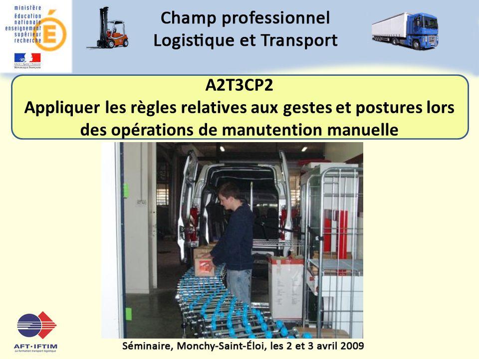 A2T3CP2 Appliquer les règles relatives aux gestes et postures lors des opérations de manutention manuelle.
