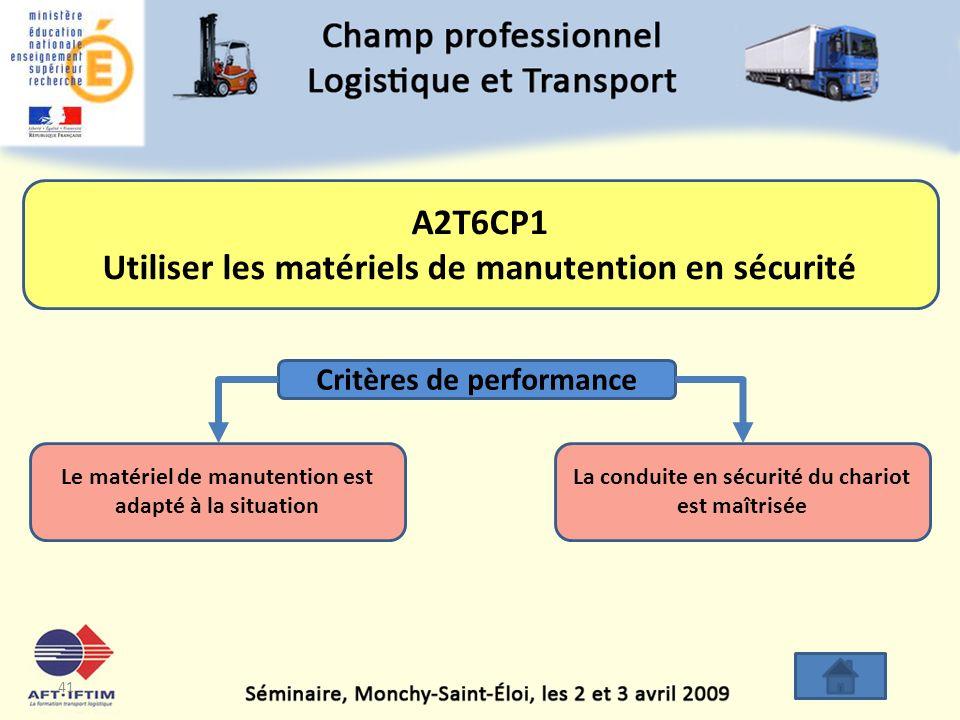 A2T6CP1 Utiliser les matériels de manutention en sécurité