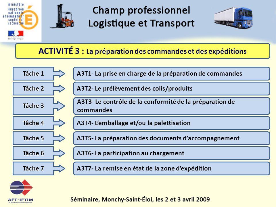 ACTIVITÉ 3 : La préparation des commandes et des expéditions