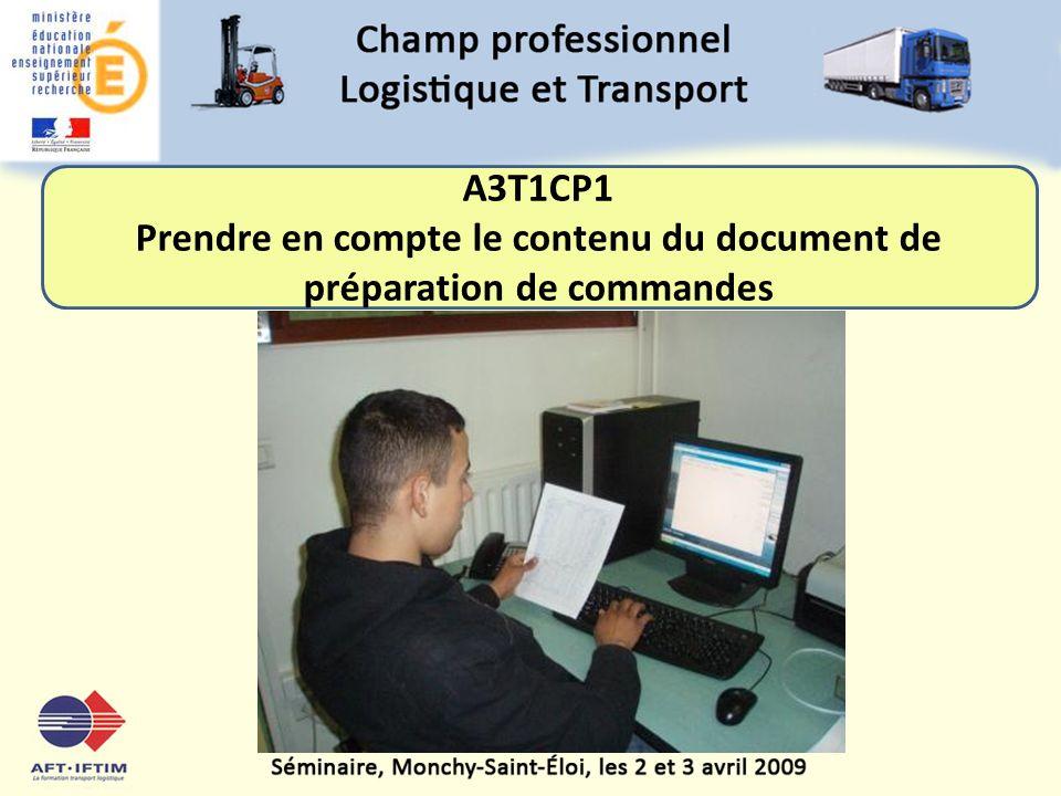 Prendre en compte le contenu du document de préparation de commandes