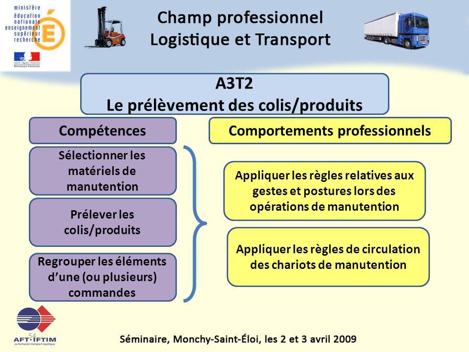 A3T2 Le prélèvement des colis/produits