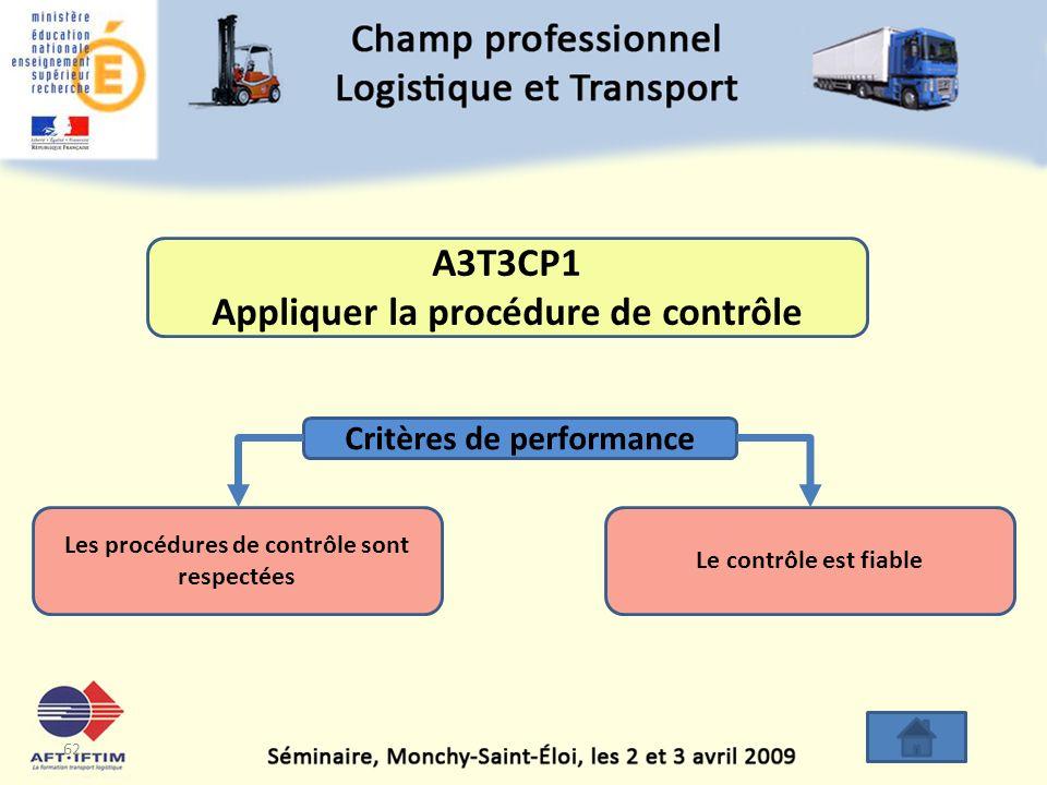 A3T3CP1 Appliquer la procédure de contrôle
