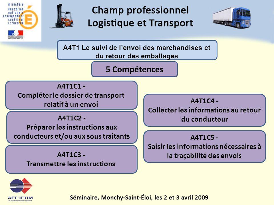 A4T1 Le suivi de l'envoi des marchandises et du retour des emballages