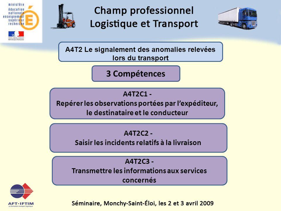 A4T2 Le signalement des anomalies relevées lors du transport