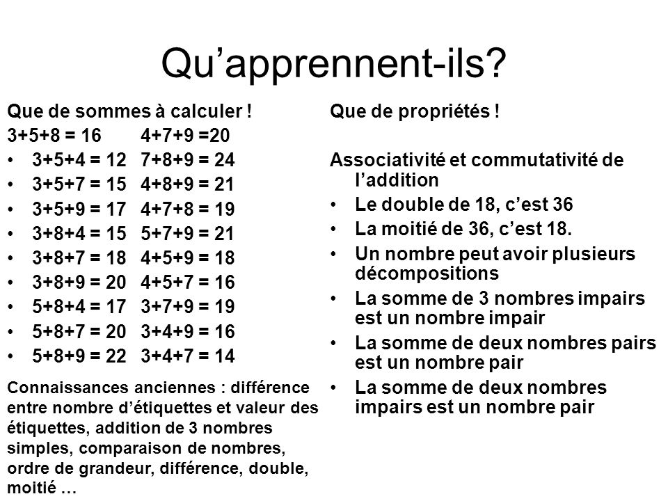 Qu'apprennent-ils Que de sommes à calculer ! 3+5+8 = 16 4+7+9 =20