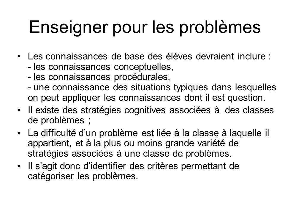 Enseigner pour les problèmes