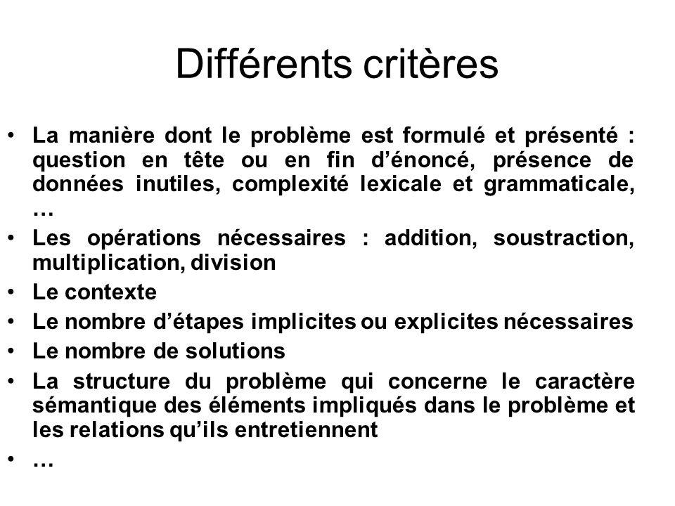 Différents critères
