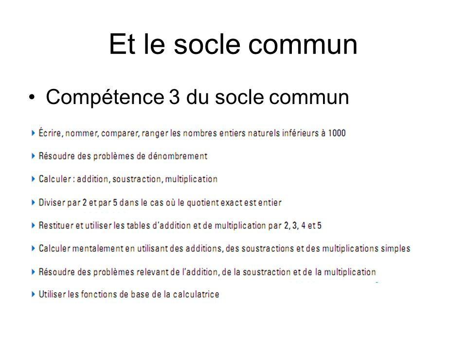 Et le socle commun Compétence 3 du socle commun