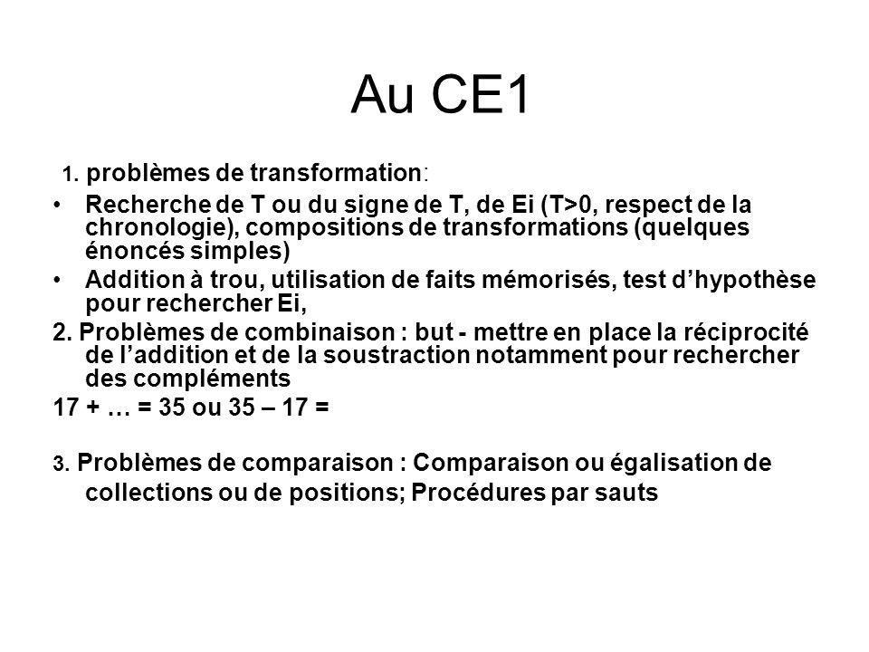Au CE1 1. problèmes de transformation:
