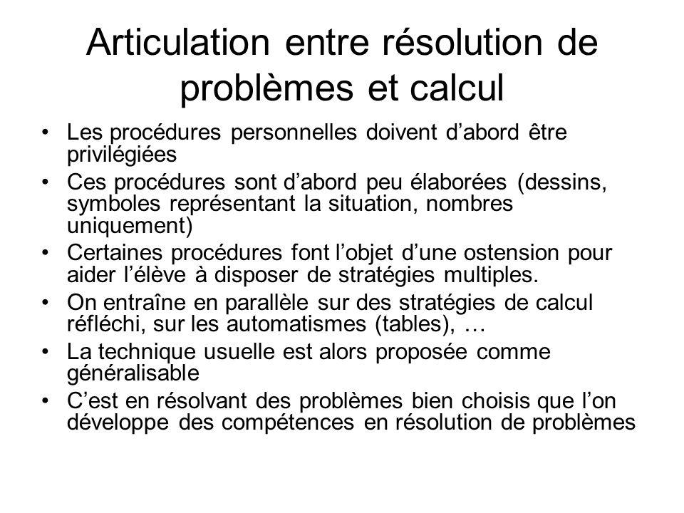 Articulation entre résolution de problèmes et calcul