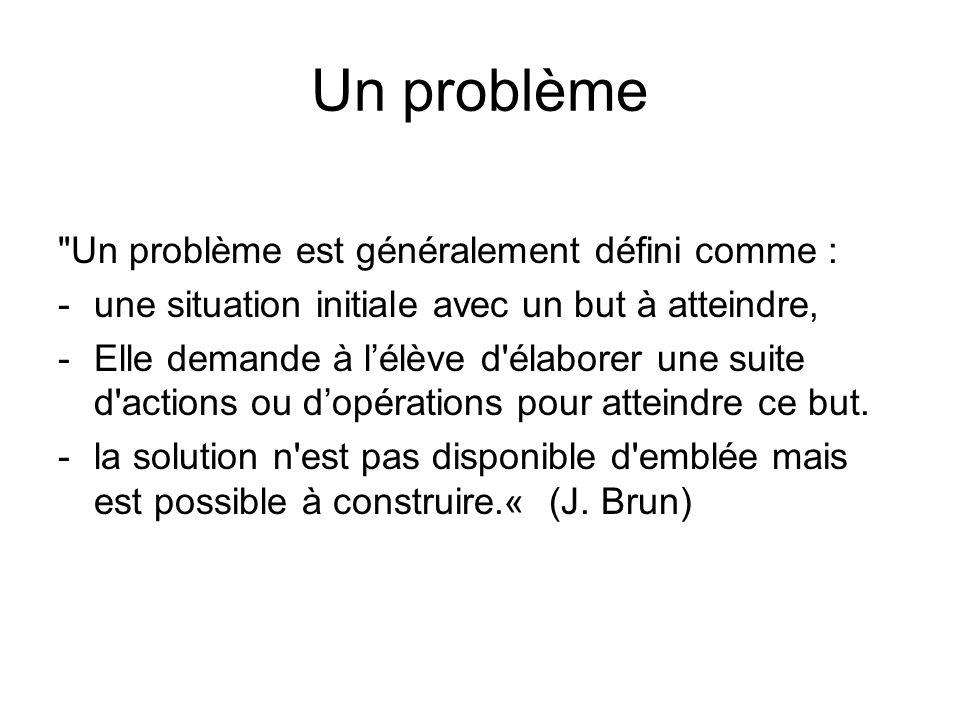 Un problème Un problème est généralement défini comme :