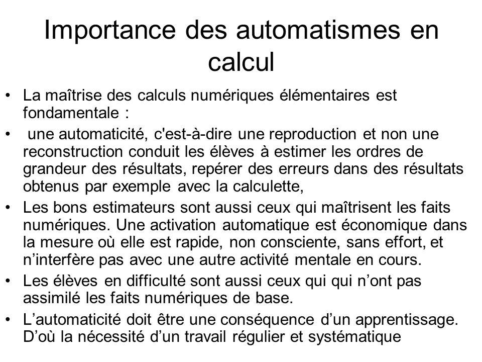 Importance des automatismes en calcul