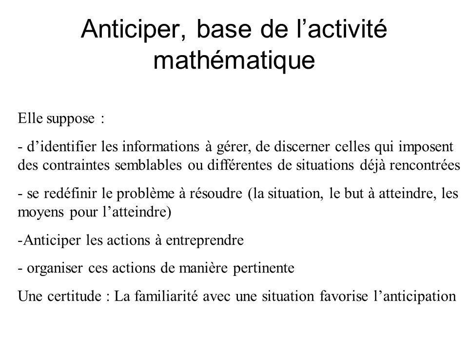 Anticiper, base de l'activité mathématique