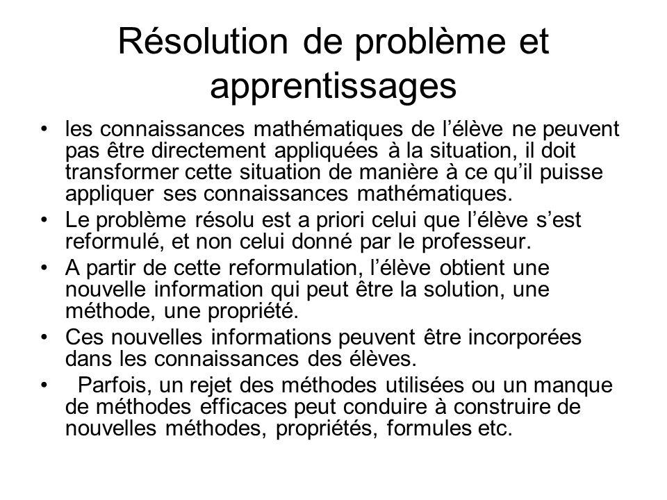 Résolution de problème et apprentissages