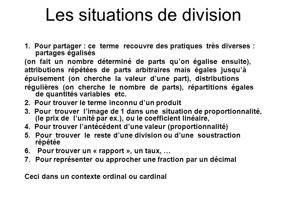 Les situations de division