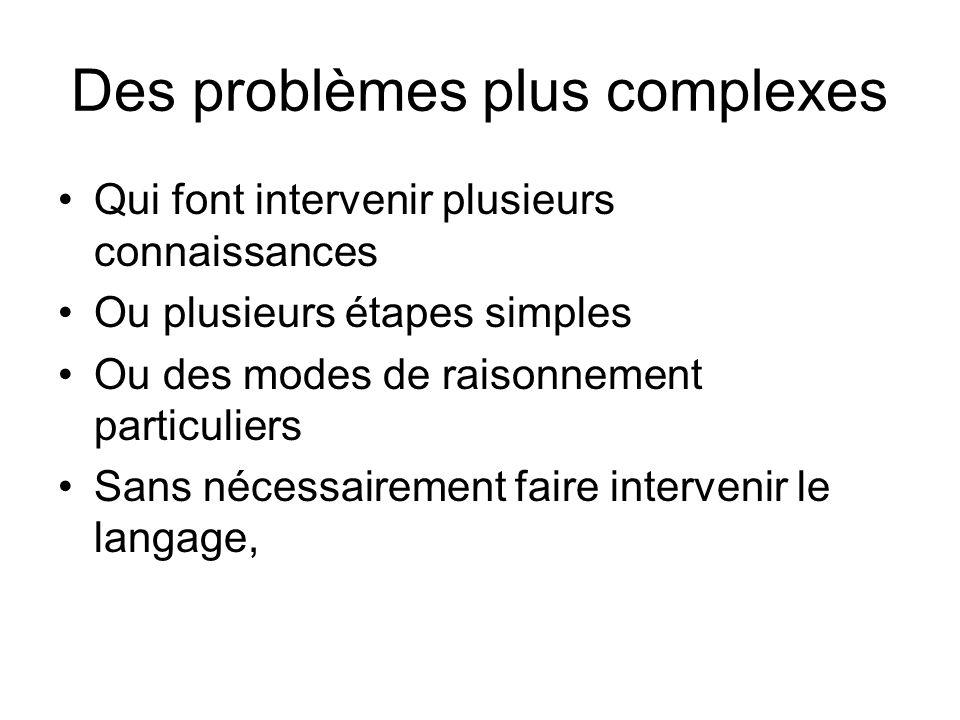 Des problèmes plus complexes