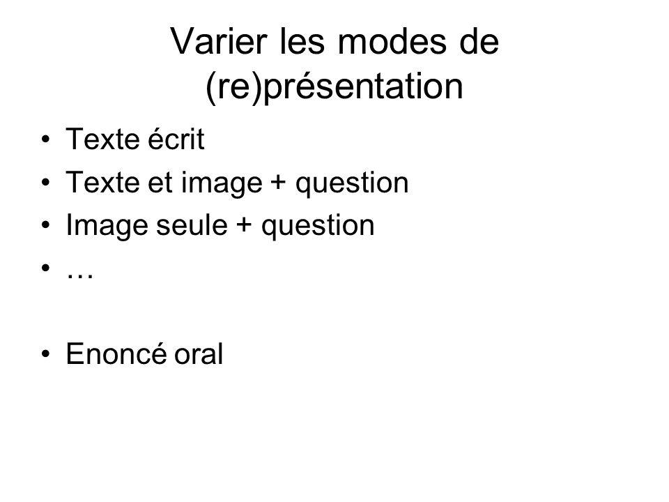 Varier les modes de (re)présentation
