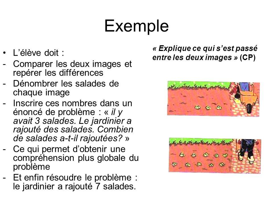 Exemple « Explique ce qui s'est passé entre les deux images » (CP) L'élève doit : Comparer les deux images et repérer les différences.