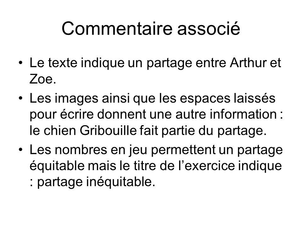 Commentaire associé Le texte indique un partage entre Arthur et Zoe.