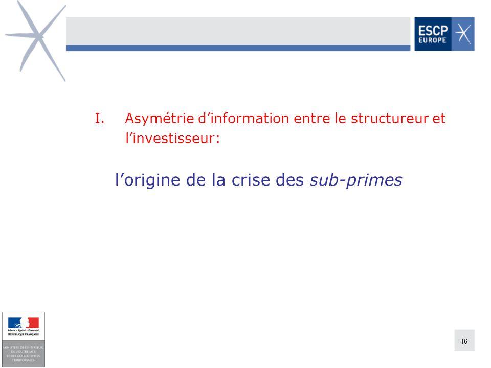 I. Asymétrie d'information entre le structureur et